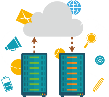 Image of two computers connected by a cloud.